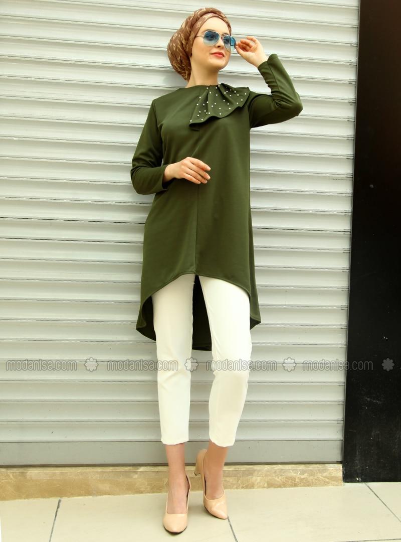 Khaki - Crew neck - Acrylic - Tunic