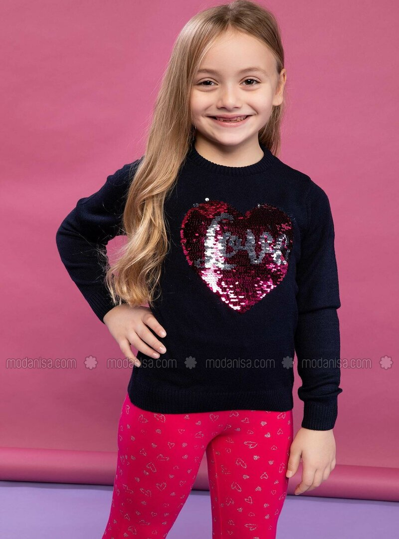 Navy Blue - Girls` Pullovers