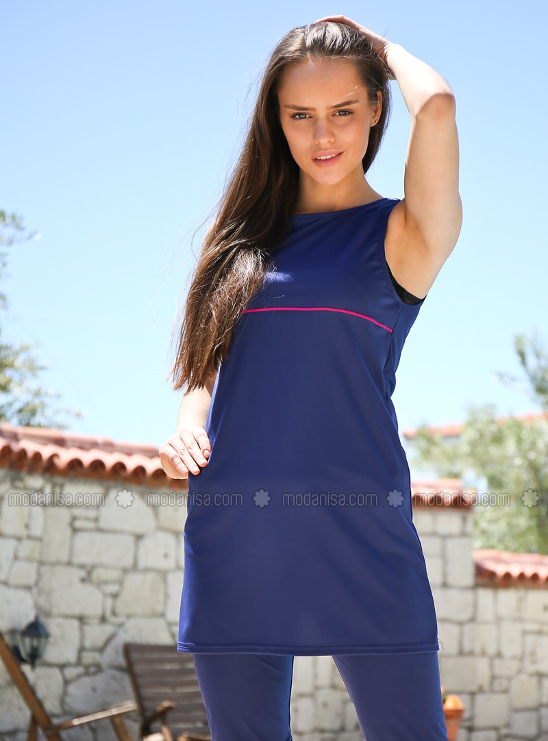 Navy Blue - Stripe - Half Covered Switsuits