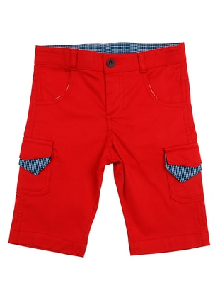 Cotton - Red - Boys` Pants