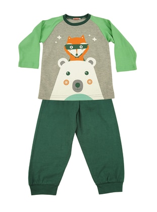 Multi - Crew neck - Cotton - Khaki - Boys` Pyjamas