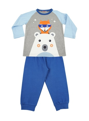 Multi - Crew neck - Cotton - Blue - Boys` Pyjamas