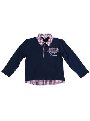 Multi - Point Collar - Cotton - Navy Blue - Boys` Sweatshirt
