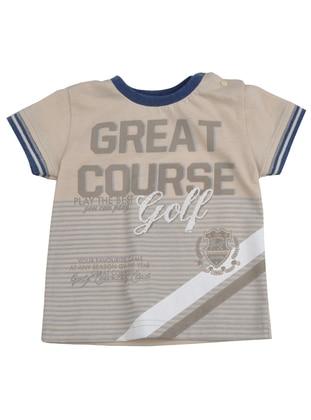 Multi - Crew neck - Cotton - Beige - Boys` T-Shirt