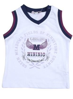 Multi - V neck Collar - Cotton - White - Boys` T-Shirt