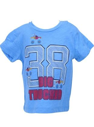 Multi - Crew neck - Cotton - Blue - Boys` T-Shirt