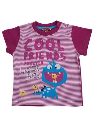 Multi - Crew neck - Cotton - Purple - Boys` T-Shirt