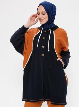 Navy Blue - Cotton - Jacket