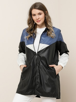 White - Ecru - Indigo - Black - Unlined - Waterproof - Plus Size Coat - Alia