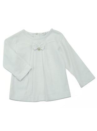 Crew neck - Cotton - White - Girls` Blouse