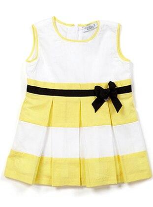 Multi - Crew neck - Cotton - White - Girls` Dress
