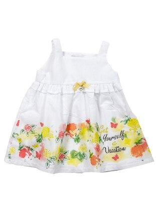 Multi - Cotton - White - Girls` Dress