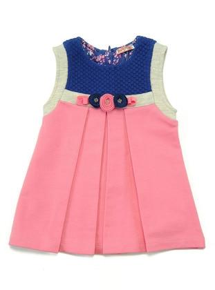 Multi - Crew neck - Pink - Girls` Dress