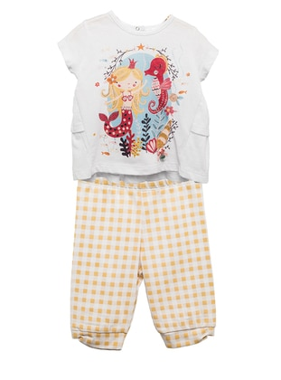 Multi - Crew neck - Cotton - Yellow - Girls` Suit