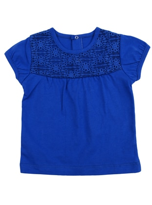 Crew neck - Cotton - Blue - Girls` T-Shirt