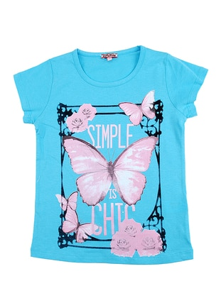 Multi - Crew neck - Cotton - Turquoise - Girls` T-Shirt