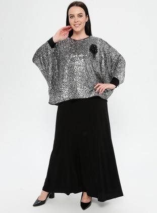 Black - Silver tone - Crew neck - Unlined - Plus Size Evening Suit