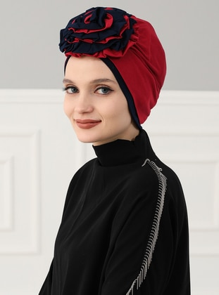 Navy Blue - Maroon - Plain - Cotton - Chiffon - Bonnet