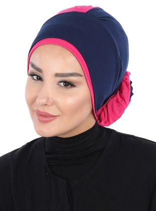 Navy Blue - Fuchsia - Plain - Cotton - Chiffon - Bonnet