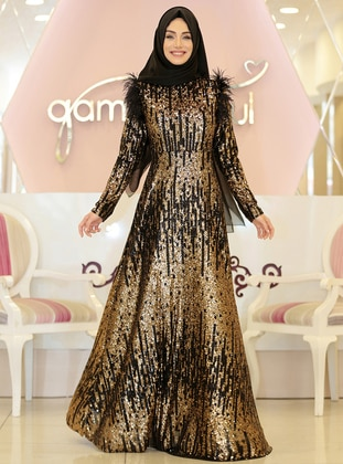 Gold - Multi - Fully Lined - Crew neck - Muslim Evening Dress
