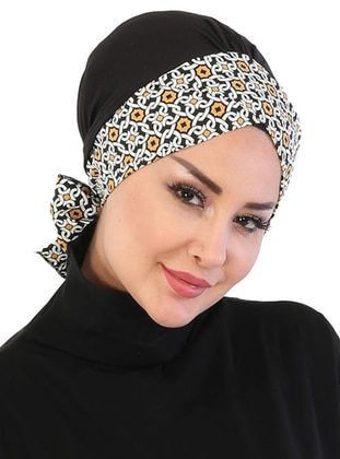 Black - Mustard - Lace up - Cotton - Bonnet