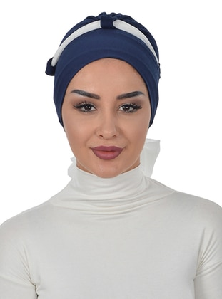 Navy Blue - Cream - Plain - Cotton - Chiffon - Bonnet