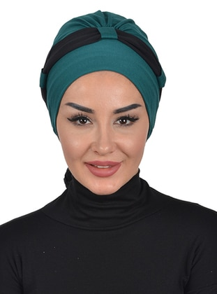 Green - Black - Plain - Cotton - Chiffon - Bonnet