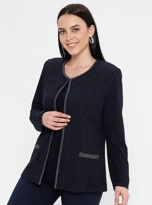 Navy Blue - Crew neck - Unlined - Plus Size Evening Suit