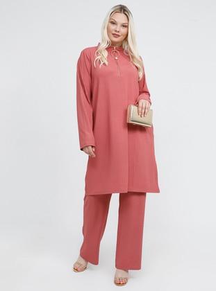 Dusty Rose - Polo neck - Unlined - Plus Size Suit