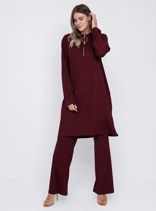 Plum - Polo neck - Unlined - Plus Size Suit
