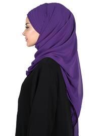 Purple - Plain - Chiffon - Instant Scarf