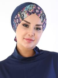 Navy Blue - Lace up - Cotton - Bonnet