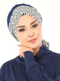Navy Blue - Beige - Lace up - Cotton - Bonnet