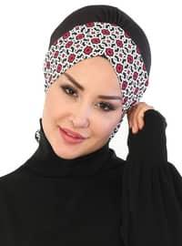 Black - Maroon - Lace up - Cotton - Bonnet
