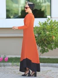 Black - Terra Cotta - Crew neck - Unlined - Dress