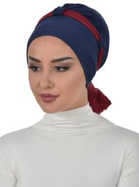 Maroon - Plain - Cotton - Chiffon - Bonnet