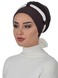 Brown - Cream - Plain - Cotton - Chiffon - Bonnet