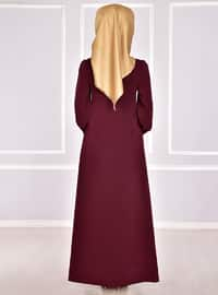 Maroon - Unlined - Crew neck - Abaya