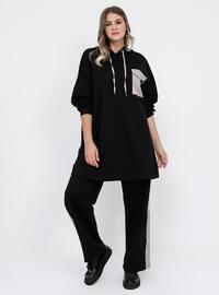 Black - Beige - Unlined - Cotton - Plus Size Suit