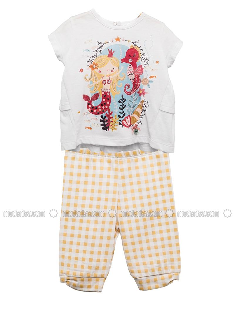 Multi - Crew neck - Cotton - Yellow - Girls` Suit