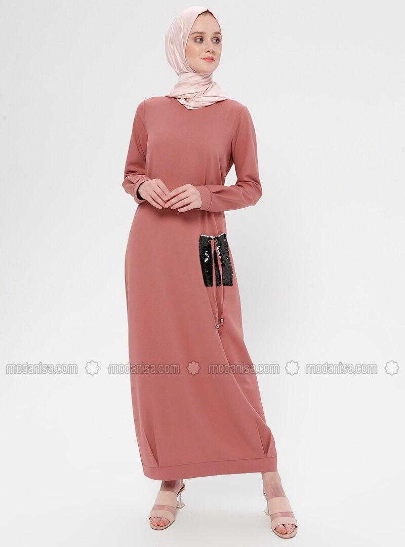 Salmon - Crew neck - Unlined - Dress