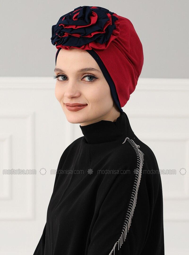 Navy Blue - Maroon - Plain - Cotton - Chiffon - Bonnet