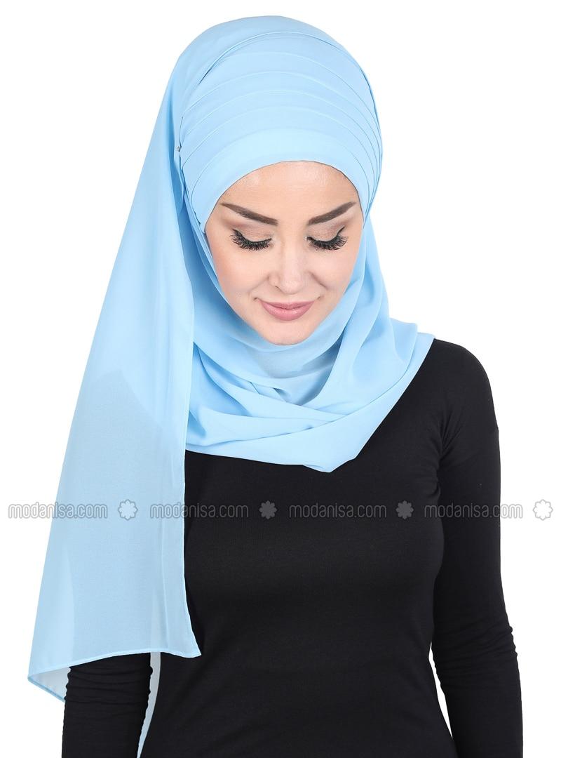 Baby Blue - Plain - Chiffon - Instant Scarf