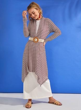 Maroon - Stripe - Cotton - Cardigan
