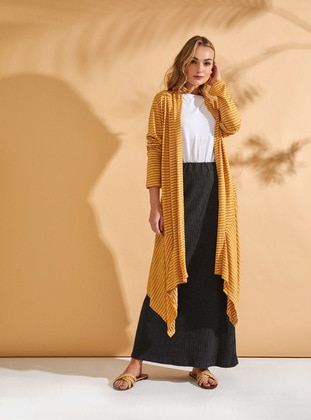 Mustard - Stripe - Cotton - Cardigan