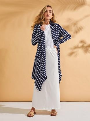Navy Blue - Stripe - Cotton - Cardigan