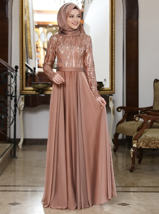 Copper - Unlined - Crew neck - Muslim Evening Dress