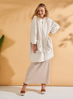 Cream - Stripe - Unlined - Cotton - Trench Coat