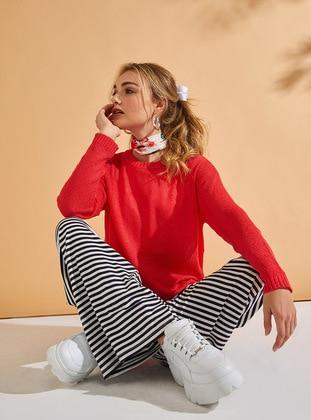 White - Navy Blue - Stripe - Cotton - Pants