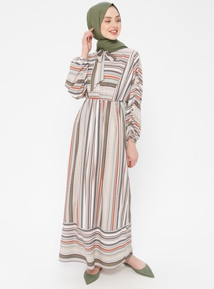 Green Almond - Stripe - Unlined - Cotton - Dress